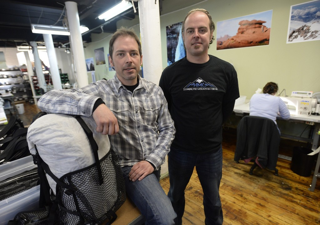 BIDDEFORD, ME - MARCH 18: Tuesday, March 18, 2014.  Mike and Dan St. Pierre of Hyperlite Mountain Gear at the company's production space in Biddeford Tuesday, March 18, 2014.  (Photo by Shawn Patrick Ouellette/Staff Photographer)