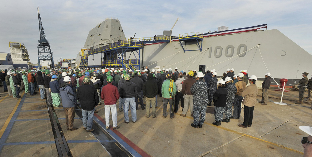 The USS Zumwalt, a 600-foot destroyer built at Bath Iron Works, is scheduled to take its first voyage this week.