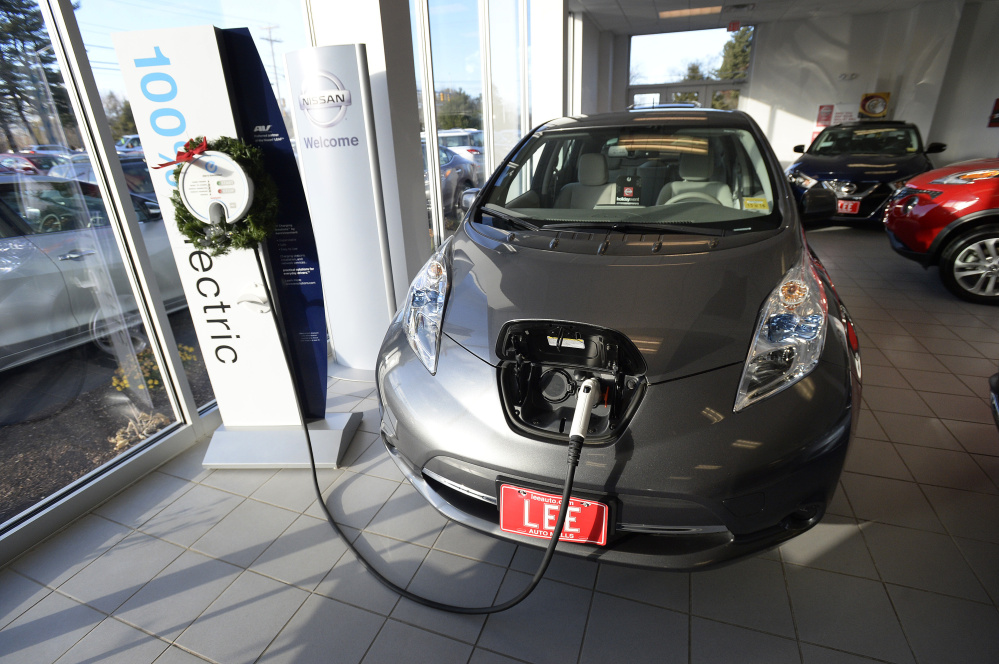 A Nissan Leaf in she showroom at Lee Nissan in Topsham Monday, November 30, 2015. Shawn Patrick Ouellette/Staff Photographer