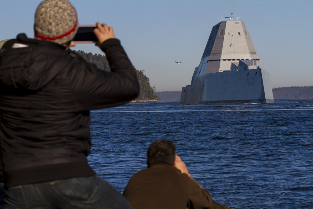 "Popham Beach was a good spot for photographs of the ""stealth"" destroyer as it made its way toward Portland."