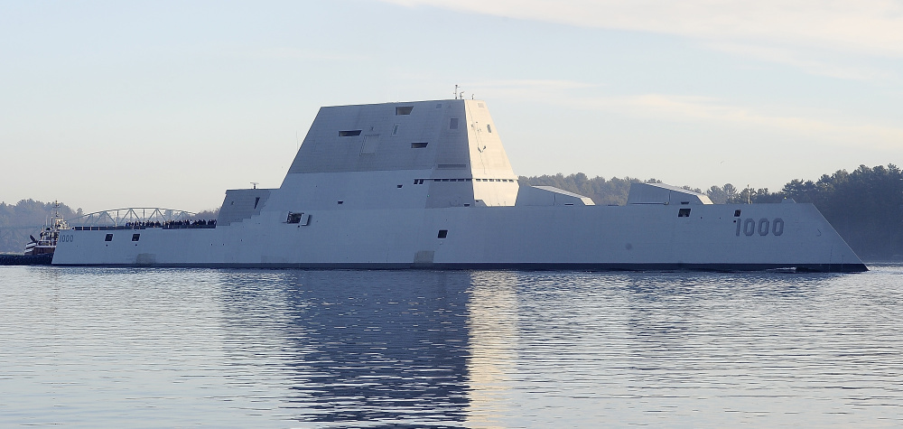 The Zumwalt launched from Bath Ironworks at on Dec. 7 for sea trials and headed down the Kennebec River to the ocean at Popham Beach. Gordon Chibroski/Staff Photographer
