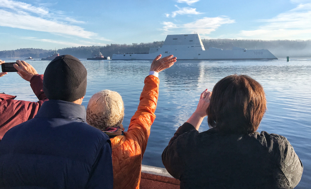 The Zumwalt launched from Bath Iron Works at 8:30 a.m. Monday and headed down the Kennebec River towards Popham Beach as a crwod of people waved and took photographs.