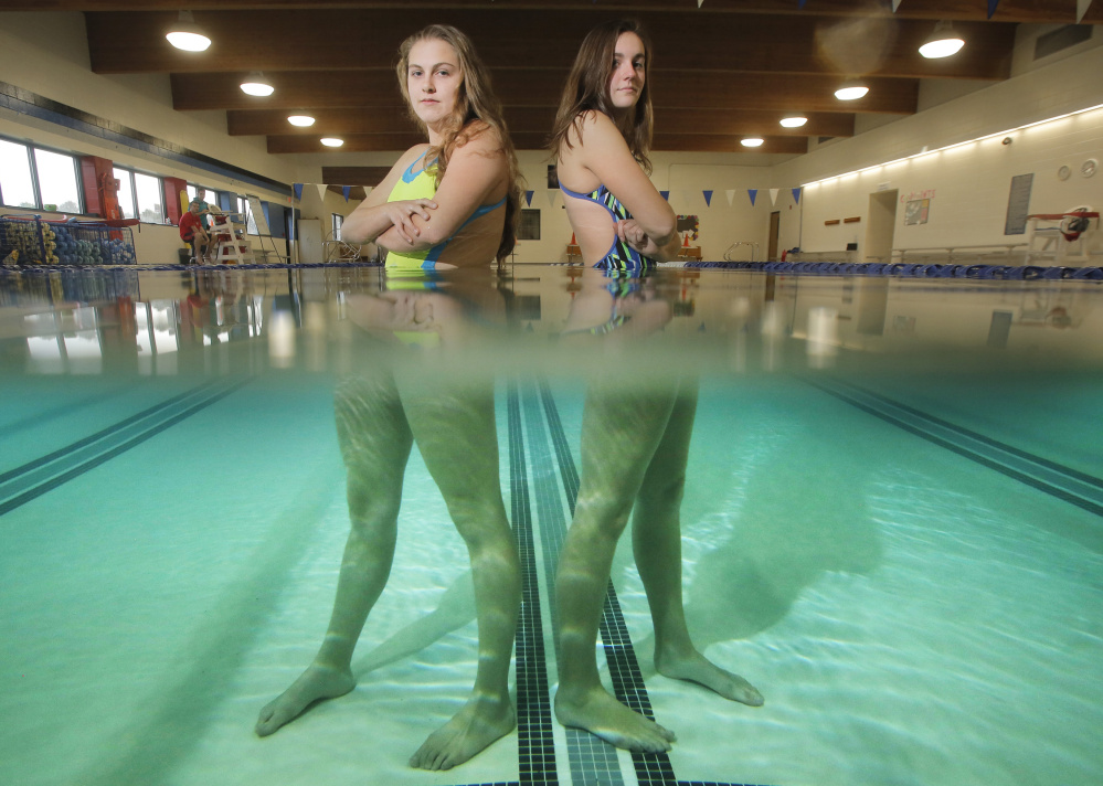 Renee Nichols, left, and Marshall Lowery are two of the Kennebunk High swimming captains. Lowery won the 200 individual medley and 100 backstroke, and Nichols was fourth in the 100 breast stroke in last year's state meet.