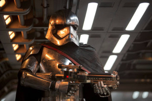 "Gwendoline Christie portrays the first female villain in a ""Star Wars"" movie, Captain Phasma."