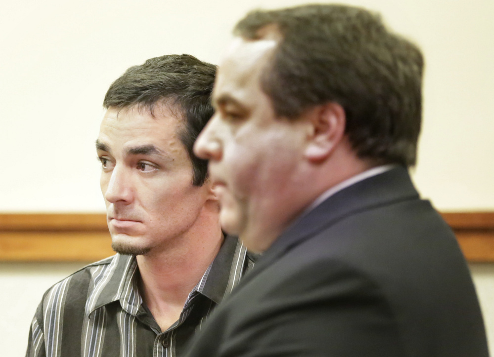 Michael Minson, left, shown at an earlier court hearing, was sentenced Wednesday in connection with a crash in Casco that killed 4-year-old Cameron Joseph Petersen. With Minson is defense attorney Robert LeBrasseur.