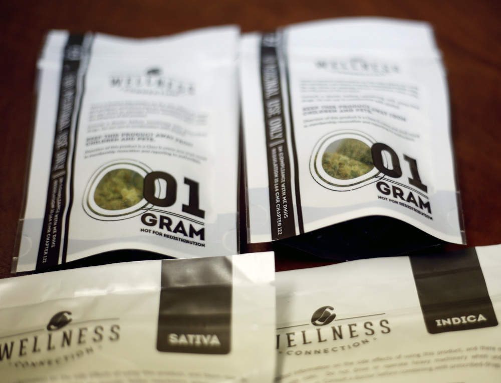 """Medical marijuana products from Wellness Connection in Portland. Becky DeKeuster, director of education for Wellness Connection, said, """"We've had a very successful dispensary program for five years now and people are becoming used to this option."""""""