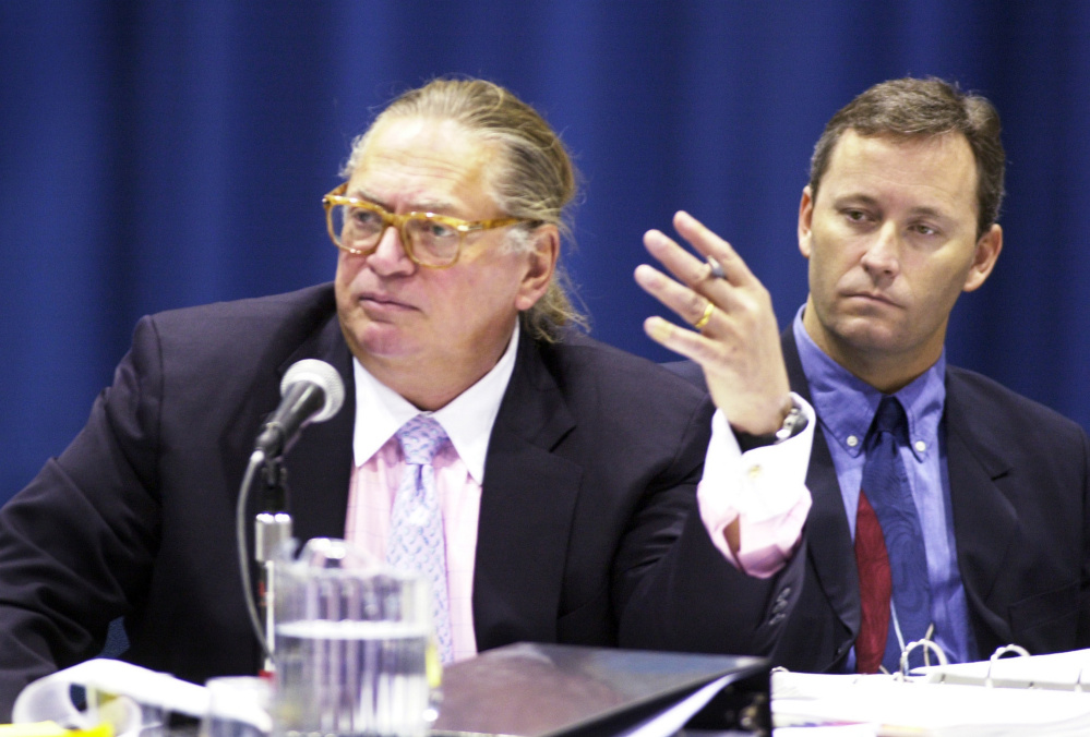 Shawn Scott, right, appears with one of his attorneys, Martin Gersten, at a licensing hearing in 2003. A petition campaign to get a ballot vote on allowing Scott the sole right to build a casino in York County has fallen short of the needed signatures.