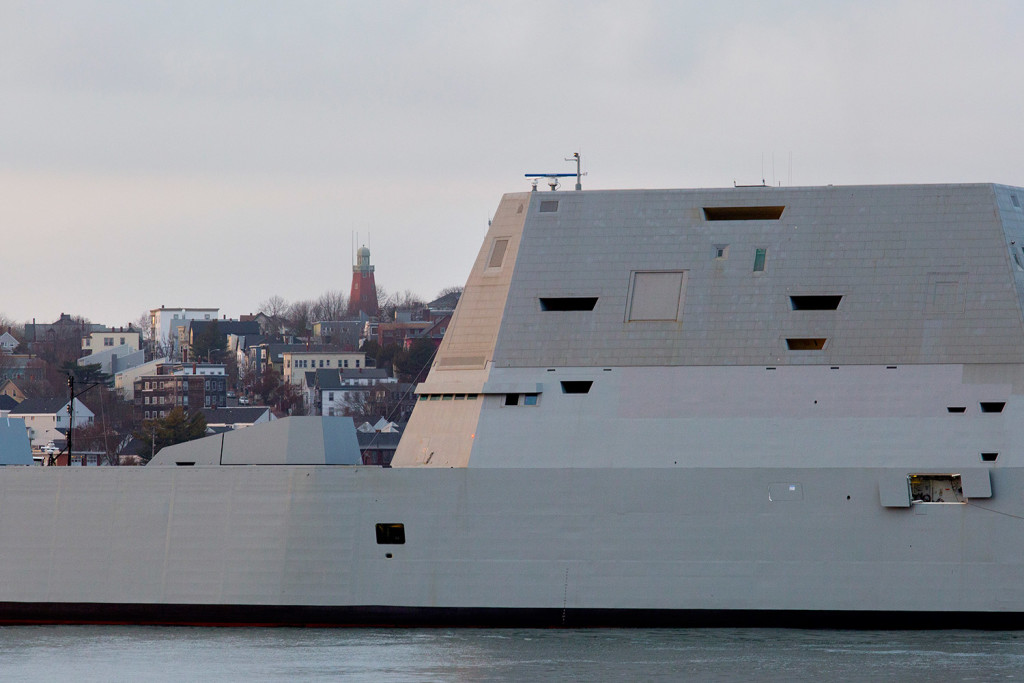The Portland Observatory rises in the background as the Zumwalt-class destroyer makes its way toward the Ocean Gateway Terminal on Thursday.