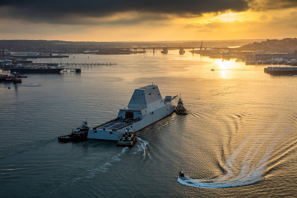 The Zumwalt is escorted into Portland Harbor. Photo by Dave Cleaveland Maineimaging.com