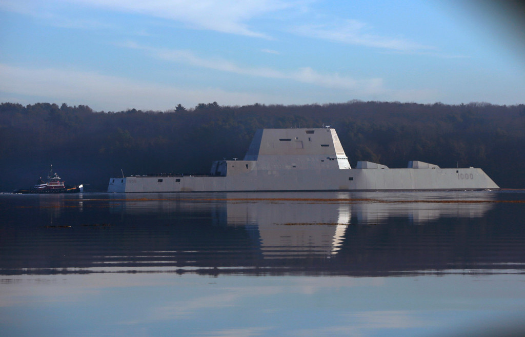 The first Zumwalt-class destroyer, USS Zumwalt, glides down the Kennebec River in December. Despite its size, the warship is 50 times harder to detect than current destroyers thanks to its angular shape and other design features.