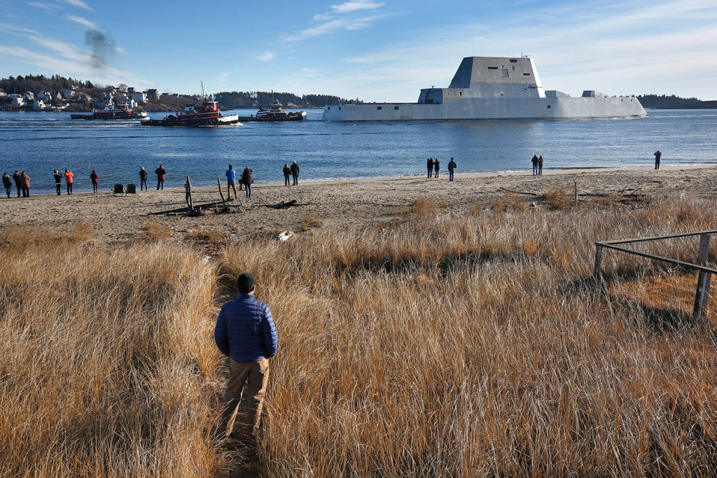 The USS Zumwalt leaves the Kennebec River on Monday in Phippsburg.