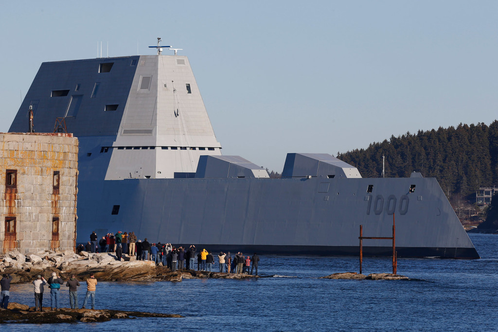 The USS Zumwalt, shown here passing Fort Popham at the mouth of the Kennebec River in Phippsburg last week, was conducting sea trials when it rescued the captain of the Danny Boy.