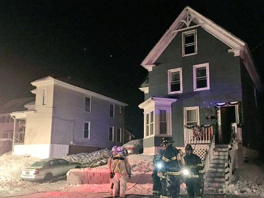 A fire damaged a home on Maple Street in Saco early Wednesday morning.  WCSH photo