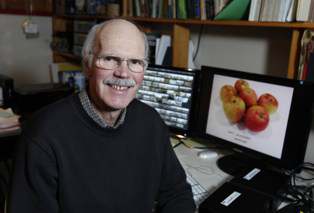 Filmmaker Huey Coleman, seen in his editing room in Portland, recently released a short documentary about the Maine Heritage Orchard, which is meant to preserve special and rare fruit varieties traditionally grown in Maine.
