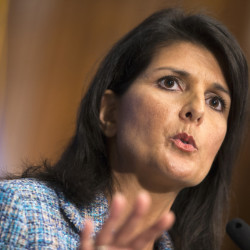 In her response to the president's speech, Gov. Nikki Haley tries to soften the tough stance embraced by the Republican Party's leading presidential contenders.