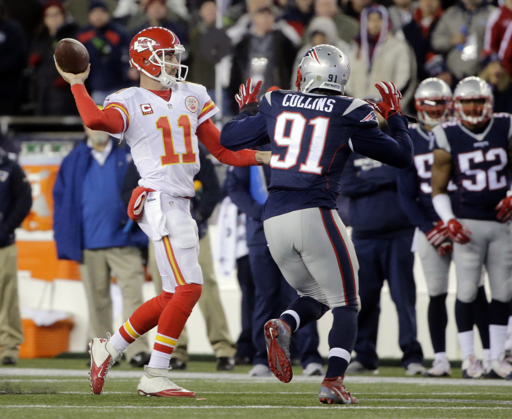 Linebacker Jamie Collins left New England's win over Kansas City in the third quarter and his status for the AFC championship game is in question.