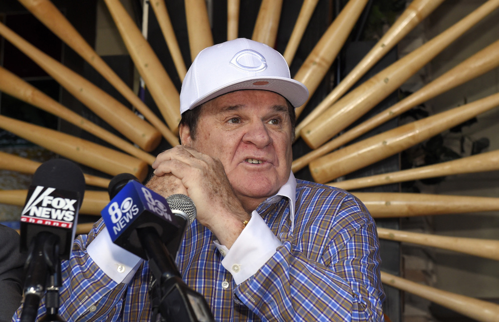 FILE - In this Dec. 15, 2015, file photo, former baseball player and manager Pete Rose speaks at a news conference, in Las Vegas.