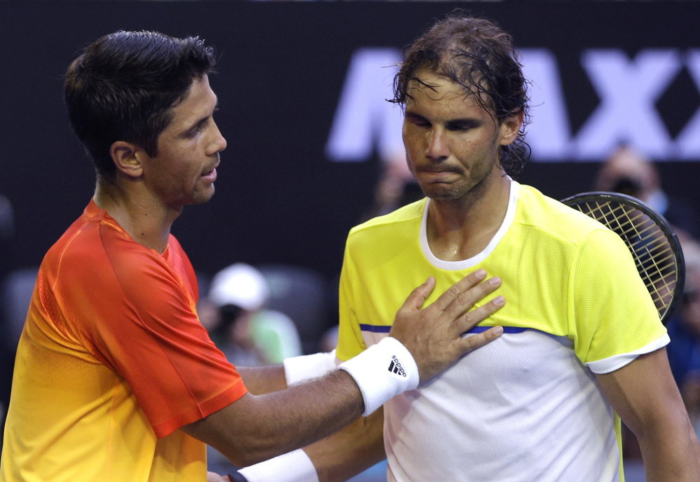 Rafael Nadal, right, of Spain had a quick stay at the Australian Open, losing Tuesday in the first round to a fellow Spaniard, Fernando Verdasco, in five sets. Story, D5.