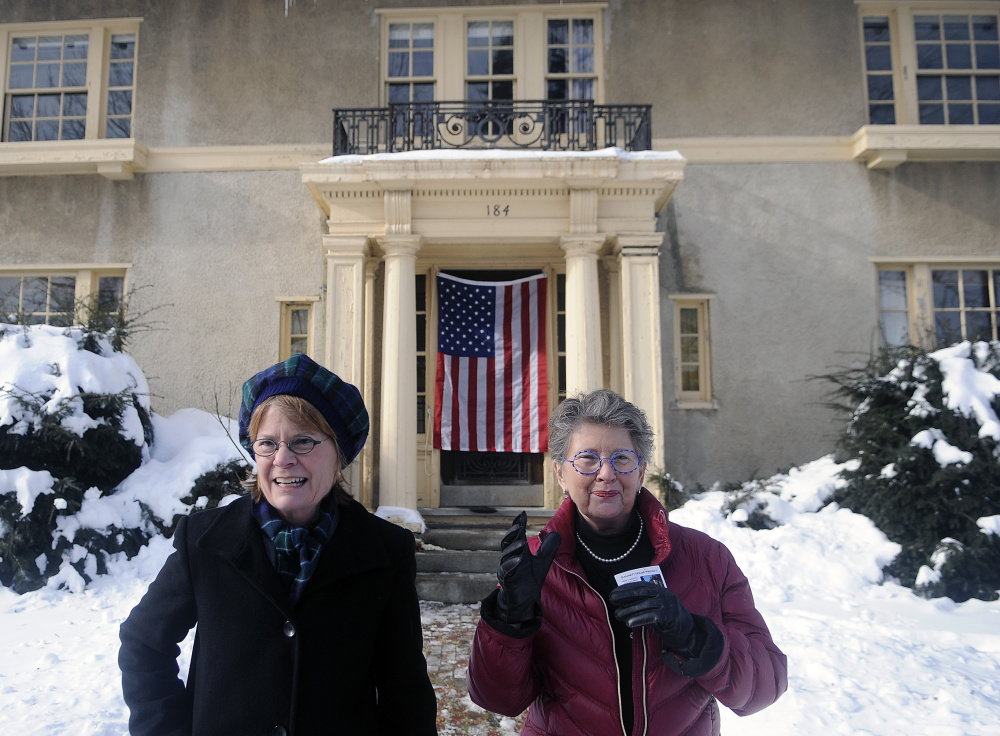 Sisters Genie Gannett, left, and Terry Gannett Hopkins, granddaughters of publisher Guy P. Gannett, are leading the project to convert a former state office building into a museum.