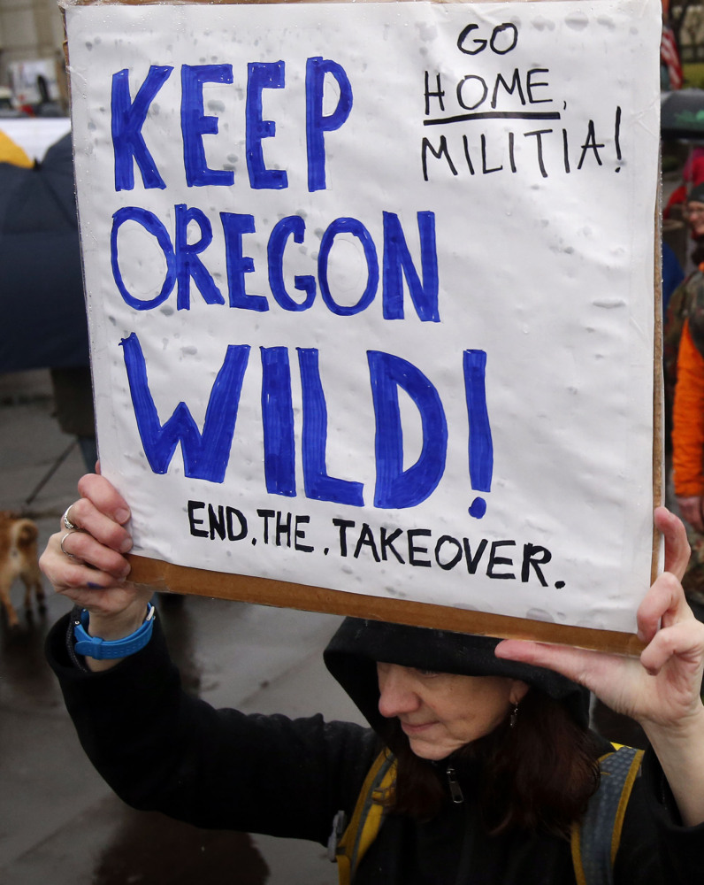 Local residents protested Wednesday against the occupation of the Malheur National Wildlife Refuge.