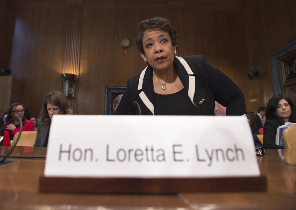 Attorney General Loretta Lynch testifies before the Senate Commerce, Justice, Science, and Related Agencies subcommittee hearing on gun control. Wednesday. The Associated Press