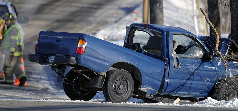 An accident on Town Farm Road in Hallowell on Wednesday injured two brothers.