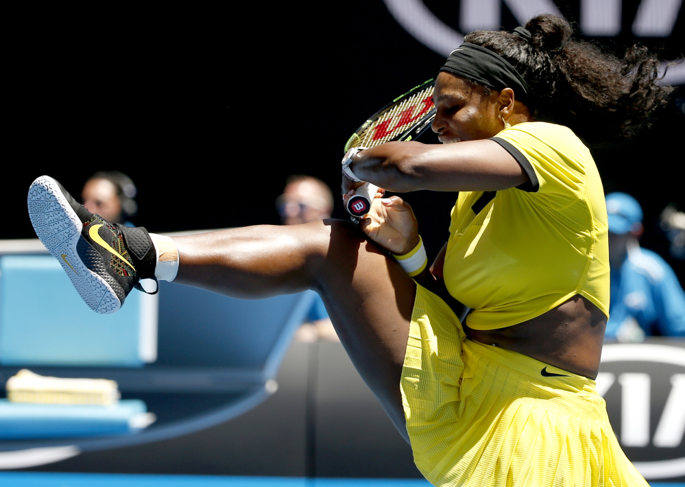 Serena Williams plays a backhand return to Hsieh Su-Wei during their second-round match at the Australian Open in Melbourne, Australia, on Wednesday.