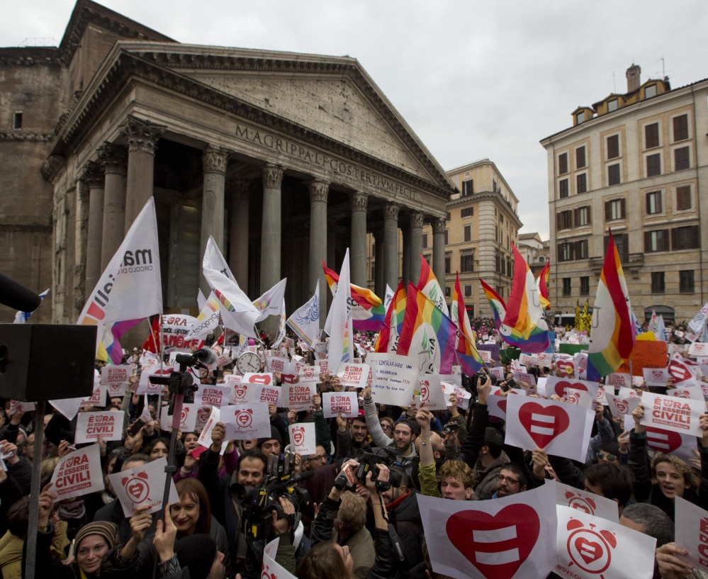 Despite Catholic opposition, activists demonstrate Saturday in Rome in favor of rights for gay couples prior to a pending debate on the subject in the Italian parliament Thursday.