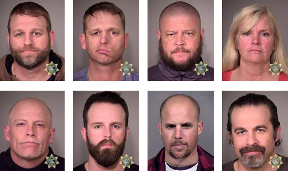 Occupiers arrested Tuesday are, top row from left, Ammon Bundy, Ryan Bundy, Brian Cavalier and Shawna Cox and, bottom row from left, Joseph Donald O'Shaughnessy, Ryan Payne, Jon Eric Ritzheimer and Peter Santilli.