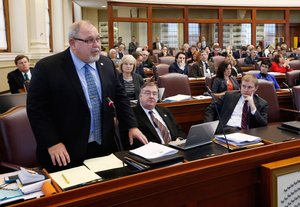 State Rep. Mark Dion, D-Portland, speaks during a debate on an order to impeach Gov. Paul LePage on Thursday at the State House in Augusta. Dion said impeachment was created to punish treason and bribery, and that the governor's actions didn't rise to the level of such serious offenses.