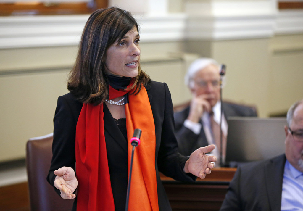 State Rep. Sara Gideon, D-Freeport, speaks during a debate on an order to impeach Gov. Paul LePage Thursday at the State House in Augusta.