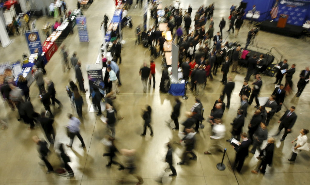 Job seekers like those at this Washington job fair in January could have a better chance of scoring higher wages or better benefits as Maine's unemployment rate hits 4 percent.