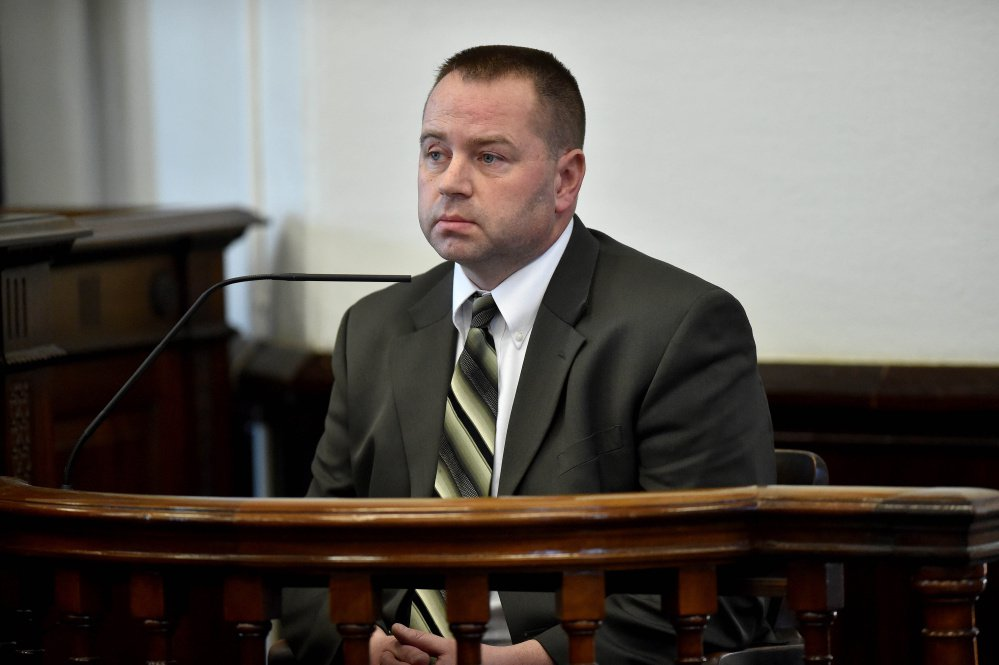 Lt. Scott Bryant testifies in Somerset County Superior Court Friday int he hearing to determine whether Kayla Stewart, of Fairfield, should be held without bail on charges she murdered her infant son.