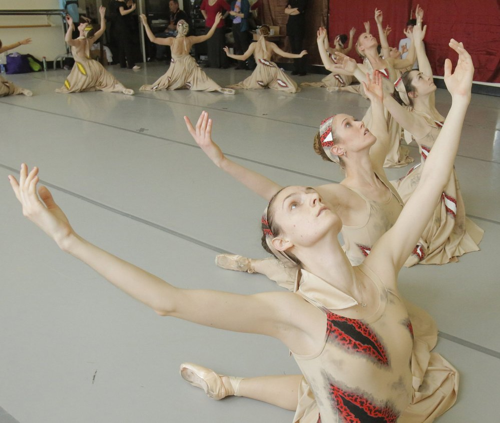 Dancers Erica Diesl, Lindsay Cregier, Kaleigh Natale and Megan McCoy, front to back, rehearse at the Portland Ballet in 2013.