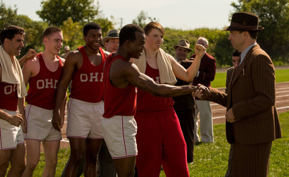 "Stephan James and Jason Sudeikis in ""Race."" (Thibault Grabherr/Focus Features/TNS)"