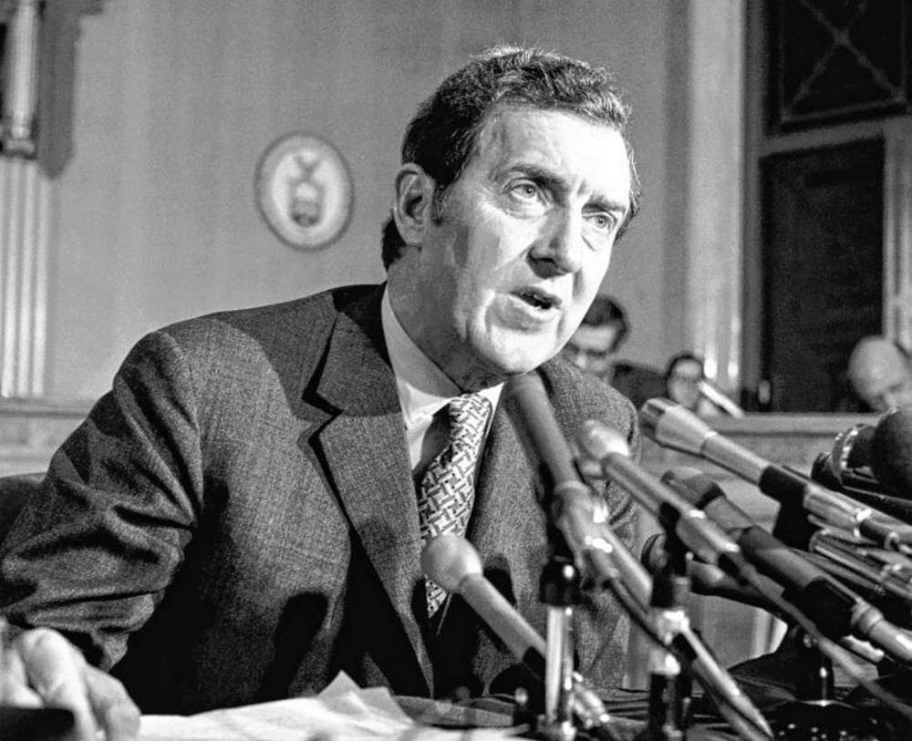 U.S. Sen. Ed Muskie speaks to the press in January 1970 about his proposed environmental legislation. Muskie's Clean Water Act of 1972 helped make the Kennebec River viable again.