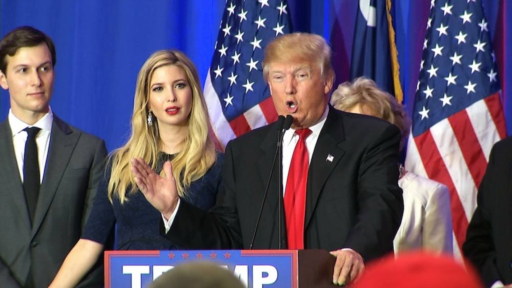Ivanka Trump, the daughter of Republican presidential candidate Donald Trump, looks on as her father addresses supporters in Spartanburg, South Carolina, on Saturday.