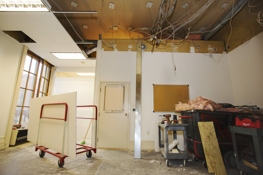Renovation of the mayor's new office was underway Friday in Portland City Hall.