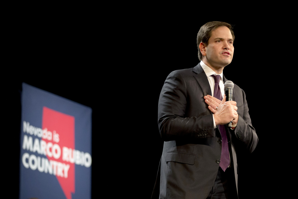 Republican presidential candidate Sen. Marco Rubio of Florida speaks at a rally Sunday in North Las Vegas, Nev.