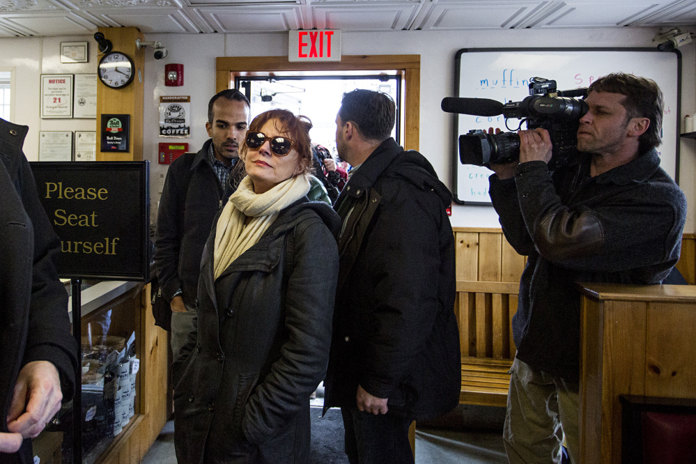 Actress Susan Sarandon waits for a table at Becky's Diner in Portland on Tuesday.