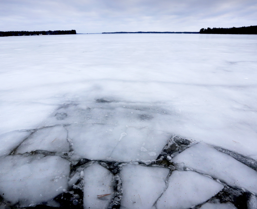 The thin ice is apparent in this view from the Jordan Bay boat launch in Raymond on Tuesday. If Sebago Lake's ice isn't safe, this weekend's Sebago Lake Rotary Ice Fishing Derby will be held on smaller lakes and ponds in Cumberland County.