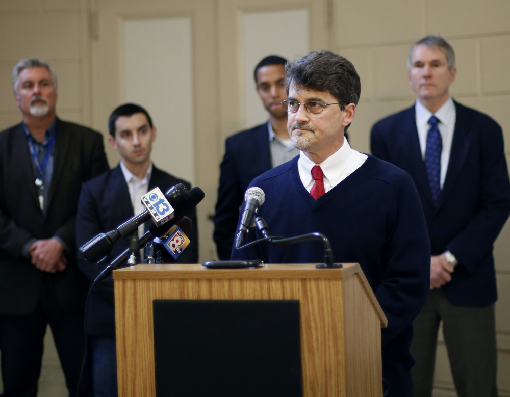 Norman Maze Jr., housing director for Shalom House, speaks at the press conference on an agreement with the landlord who is evicting tenants from 24 units on Grant Street. Seven tenants who are still looking for homes get housing vouchers from Shalom House, a nonprofit that helps people with mental illness.