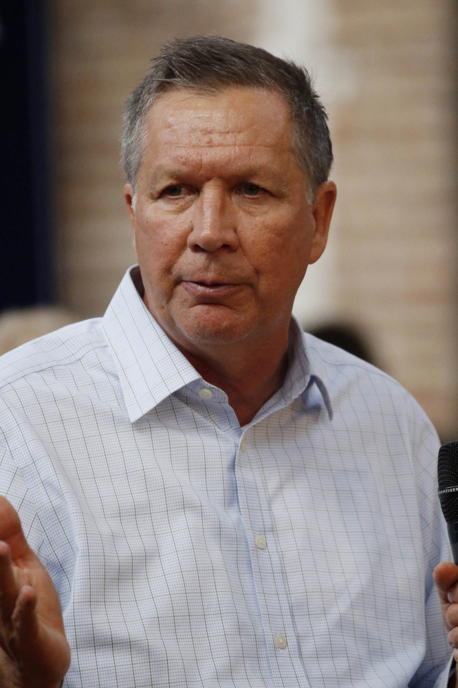 Republican presidential candidate, Ohio Gov. John Kasich speaks about his platform during a town hall meeting in Gulfport, Miss., Wednesday, Feb. 24, 2016. (AP Photo/Rogelio V. Solis)