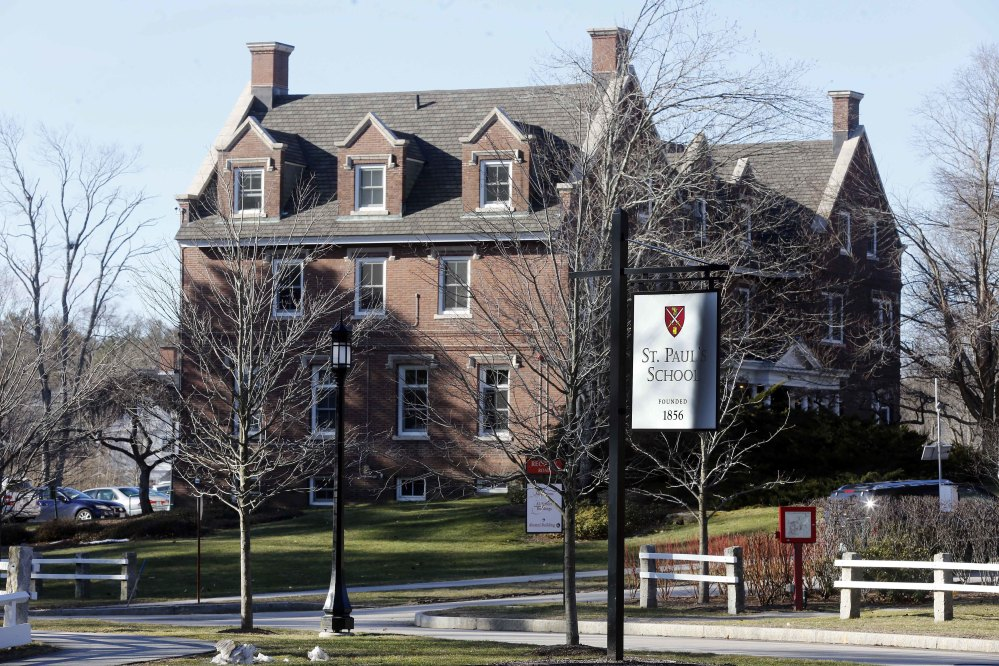 "The entrance to St. Paul's School is seen Friday in Concord, N.H. Six months after a graduate from the prep school was convicted on charges of sexual assault and using a computer to lure a 15-year-old girl for sex, the school plans a symposium to help educators called ""Empathy, Intimacy and Technology in a Boarding School Environment."""