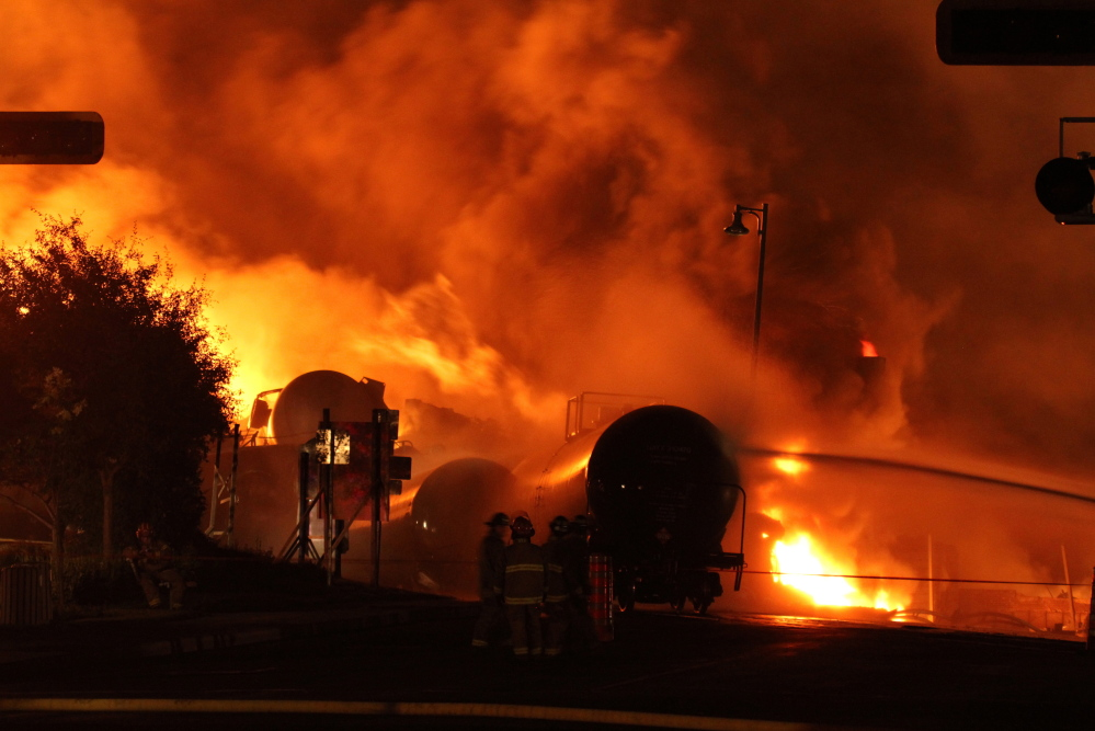 Concern about rail shipments of hazardous cargo has been heightened by a series of fiery oil train explosions in the U.S. and Canada, including this one in Lac-Megantic, Quebec, that killed 47 people in the summer of 2013.