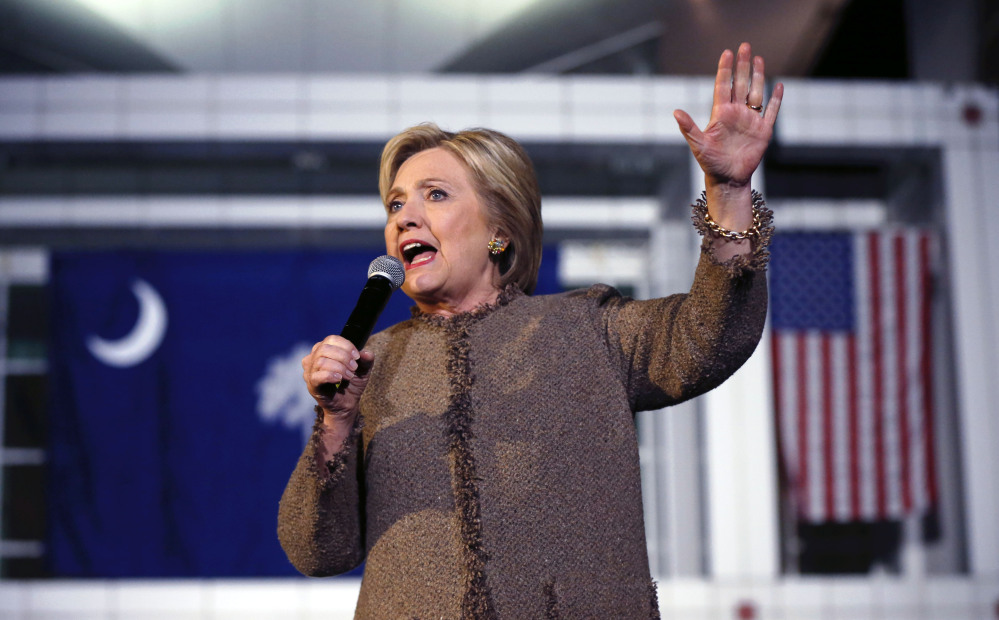 Democratic presidential candidate Hillary Clinton speaks at a rally in Columbia, S.C., on Friday.