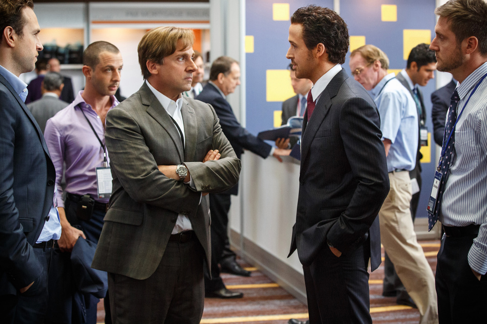 "Paramount Pictures Rafe Spall, left, Jeremy Strong, Steve Carell, Ryan Gosling and Jeffry Griffin in ""The Big Short."" Oscar contenders ""Spotlight"" and ""The Big Short."""