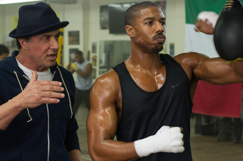 "Warner Bros. Pictures Sylvester Stallone as Rocky Balboa and Michael B. Jordan as Adonis Creed in ""Creed."""