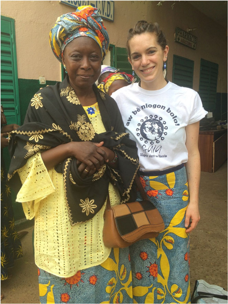 Camden native Eliza Squibb, right, during a visit to the African nation of Mali. Squibb creates textile designs that raise awareness of preventable diseases while raising money for health screenings. Squibb will share her story Tuesday at the Camden Public Library.