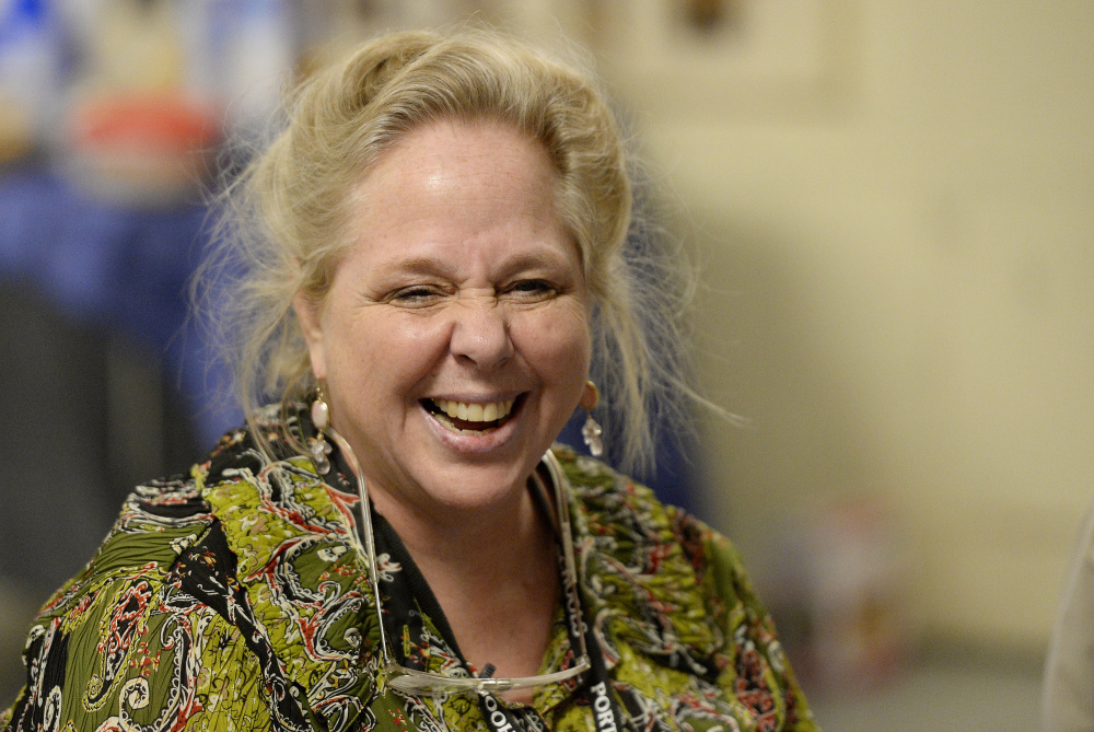 Marta Greenlaw laughs with her students while teaching an accent reduction class through Portland Adult Education. Shawn Patrick Ouellette/Staff Photographer